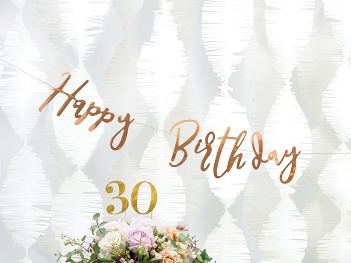 Banner Happy Birthday, rose gold, 16.5x62cm 0