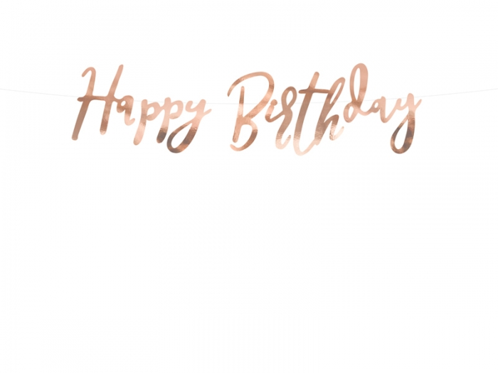 Banner Happy Birthday, rose gold, 16.5x62cm 1