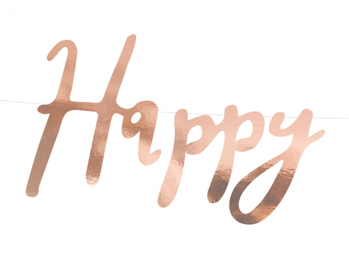Banner Happy Birthday, rose gold, 16.5x62cm 2