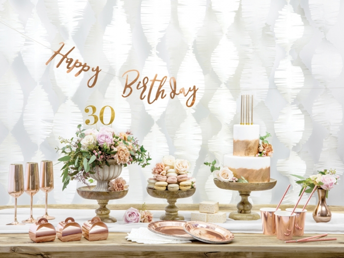 Banner Happy Birthday, rose gold, 16.5x62cm 5