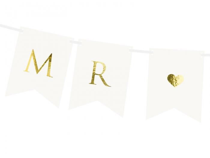 Banner Mr Mrs, alb, 15 x 85 cm 2