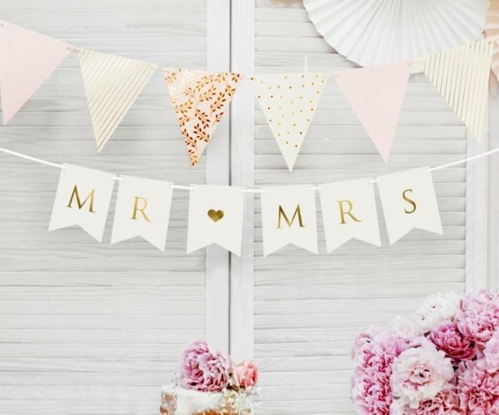 Banner Mr Mrs, alb, 15 x 85 cm 0