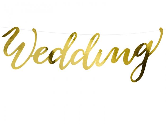 Banner Wedding, auriu, 16.5x45cm 0