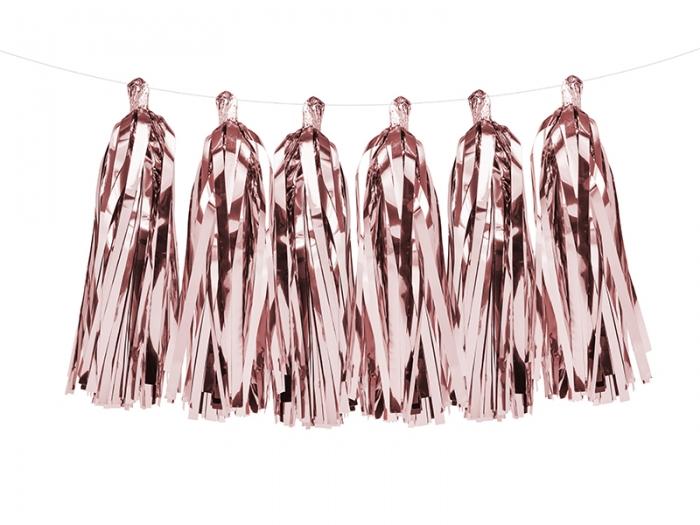 Ghirlanda ciucuri roz auriu, 12 ciucuri, 1.5 m lungime 4