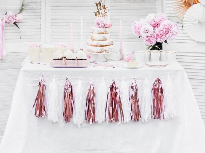 Ghirlanda ciucuri roz auriu, 12 ciucuri, 1.5 m lungime 3